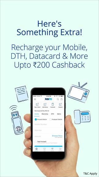 PayTm- Get Flat 5% CashBack on Recharging Mobile, DTH, Datacard & Landline (All Users)