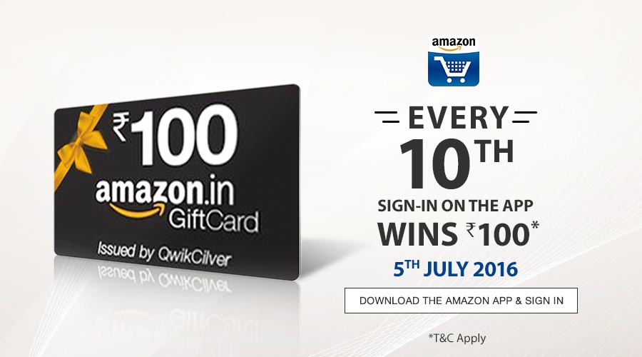 (Freebie) Win Rs. 100 Amazon Gift Card on Every 10th Sign-in on Amazon App