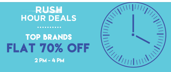 Jabong Rush Hour Deal – Get Flat 70% off on Top Brands + Extra 10% Discount