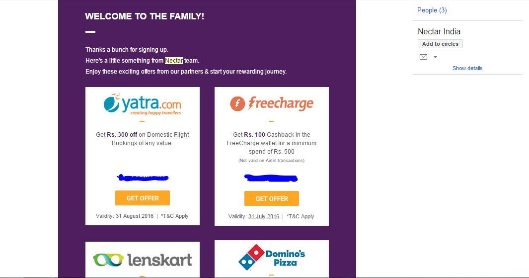 (Loot)Nectar & FreeCharge - Get Rs 100 CashBack on Rs 500 Coupon From Nector.in And Many More
