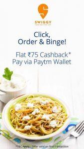 Swiggy paytm BINGE50 50% Off offer. offer. 25% off upto Rs.100 on Swiggy order using PhonePe