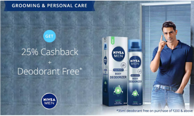 Paytm Nivea Exclusive Offer – Get Upto 45% off on Nivea Men's Products + Extra 25% cashback + Free Deodorant