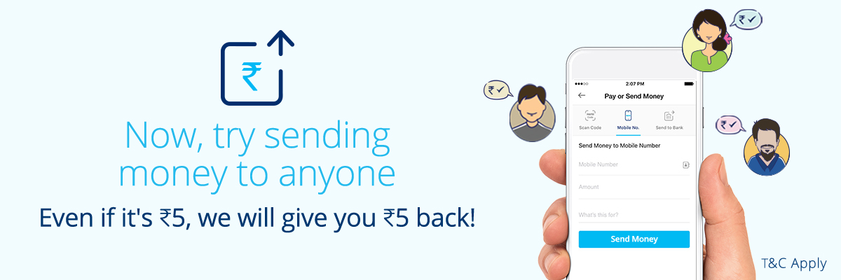 Paytm Money Transfer Offer– Get Rs 5 CashBack on Sending Rs 5 to your Friends
