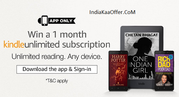 Free 1 Month Kindle Unlimited Subscription - Amazon App
