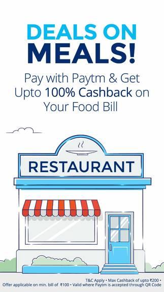 Restaurants Get Upto 100% CashBack On Rs 100 Bill From Paytm Wallet