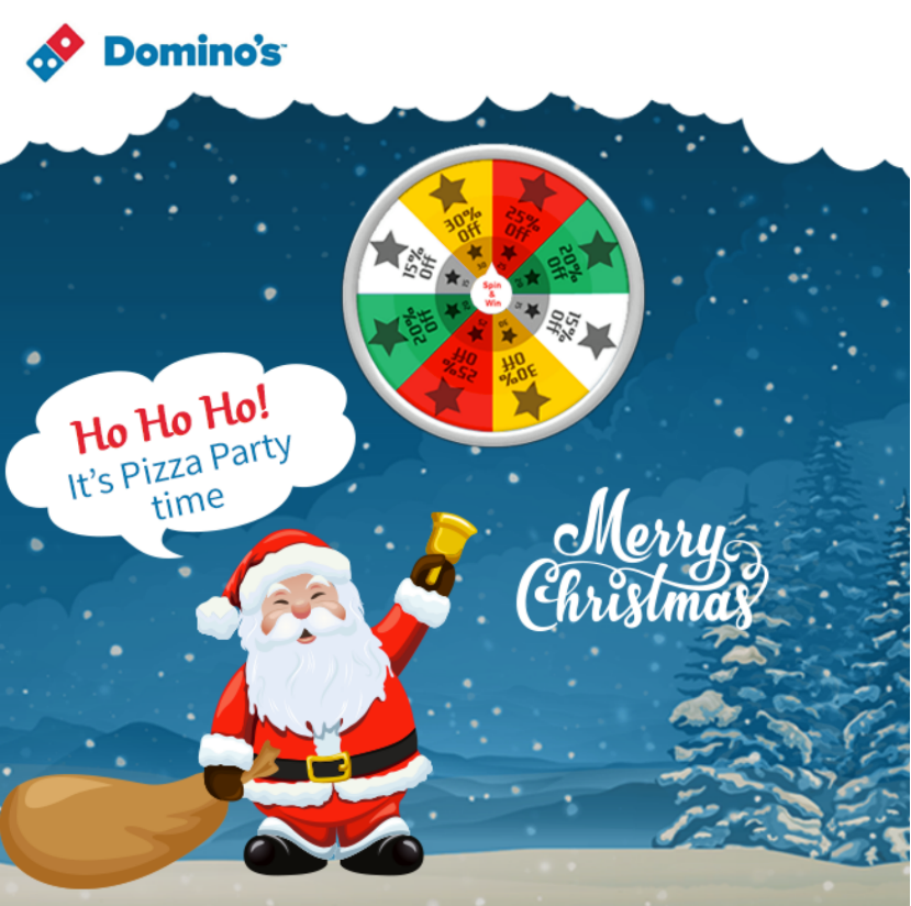 Is Dominos Open On Christmas.Domino S Spin Wheel Win Gift Offer Christmas Offer From