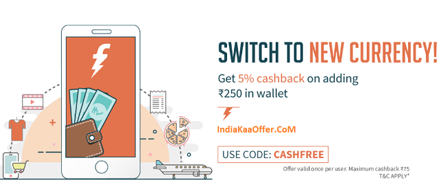 FreeCharge Add Money Offer - Get 5% CashBack On Adding Rs 250+