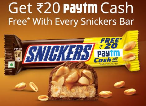 Get Free Rs 20 PayTm Cash On Buy Rs 40 Snickers Bar