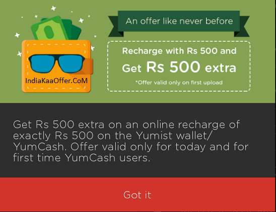 Yumist Wallet Offer Add Rs 500 And Get Extra Rs 500 In Yumist Wallet (First Upload)