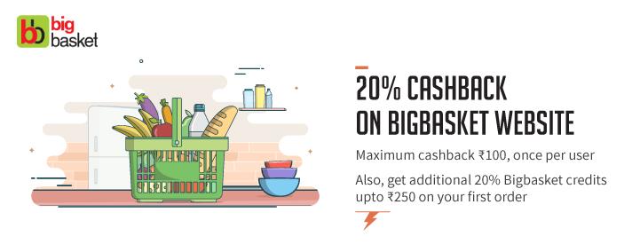 Bigbasket Freecharge Rs 100 cashback offer - Get Rs 100 Cashback on minimum Order of Rs 800 via Freecharge