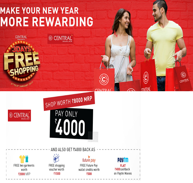 Central Store 3 Days Free Shopping