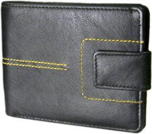 Hidelink Men Formal Black Genuine Leather Wallet