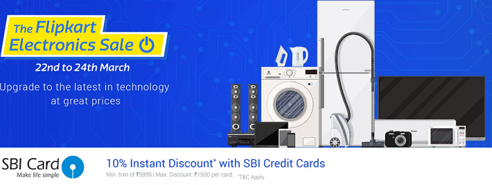 Flipkart Electronic Sale From 25-26 March : Upto 90% Off Deals On Electronics+10% Extra Off With SBI Cards
