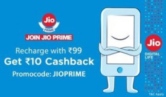 Paytm Jio Prime Offer - Get Rs 10 Cashback On Rs 99 Recharge