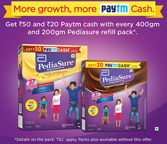 Paytm PediaSure Offer – Get Rs 50 & 20 Free Paytm Cash on Every PediaSure Pack of 400gm & 200gm