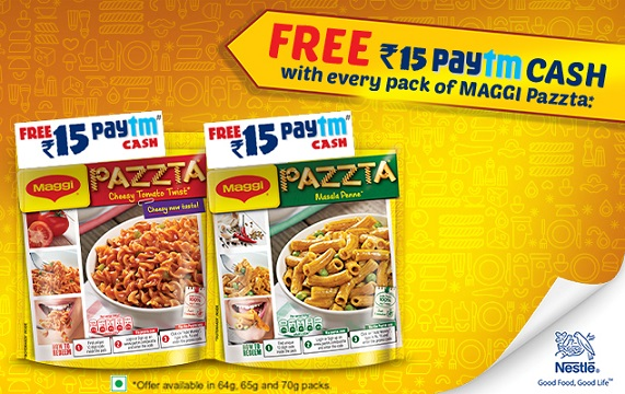 Paytm - Free ₹ 15 Paytm Cash with Every Pack of Maggi Pazzta