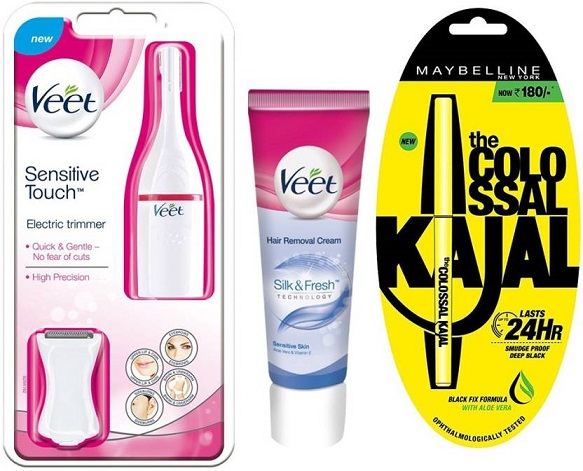 Veet Electric Trimmer+Veet Hair Removal Cream Sensitive Skin 100g+Maybelline Collosal Kajal Trimmer At ₹ 1499 - Flipkart