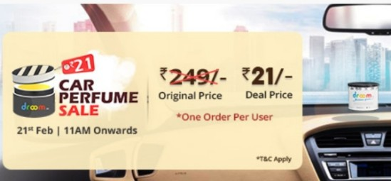 Droom Car Perfume Sale : Get Car Perfume At Rs 21 on 13 June, 2018 (11 AM)