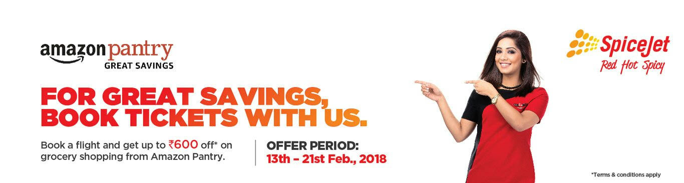 Amazon Pantry Offer. Spicejet and Amazon pantry is offering now Booking flight offer