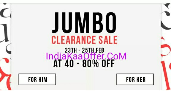 Myntra Jumbo Clearance Sale - Shop on Myntra and Get 40 - 80 % Off