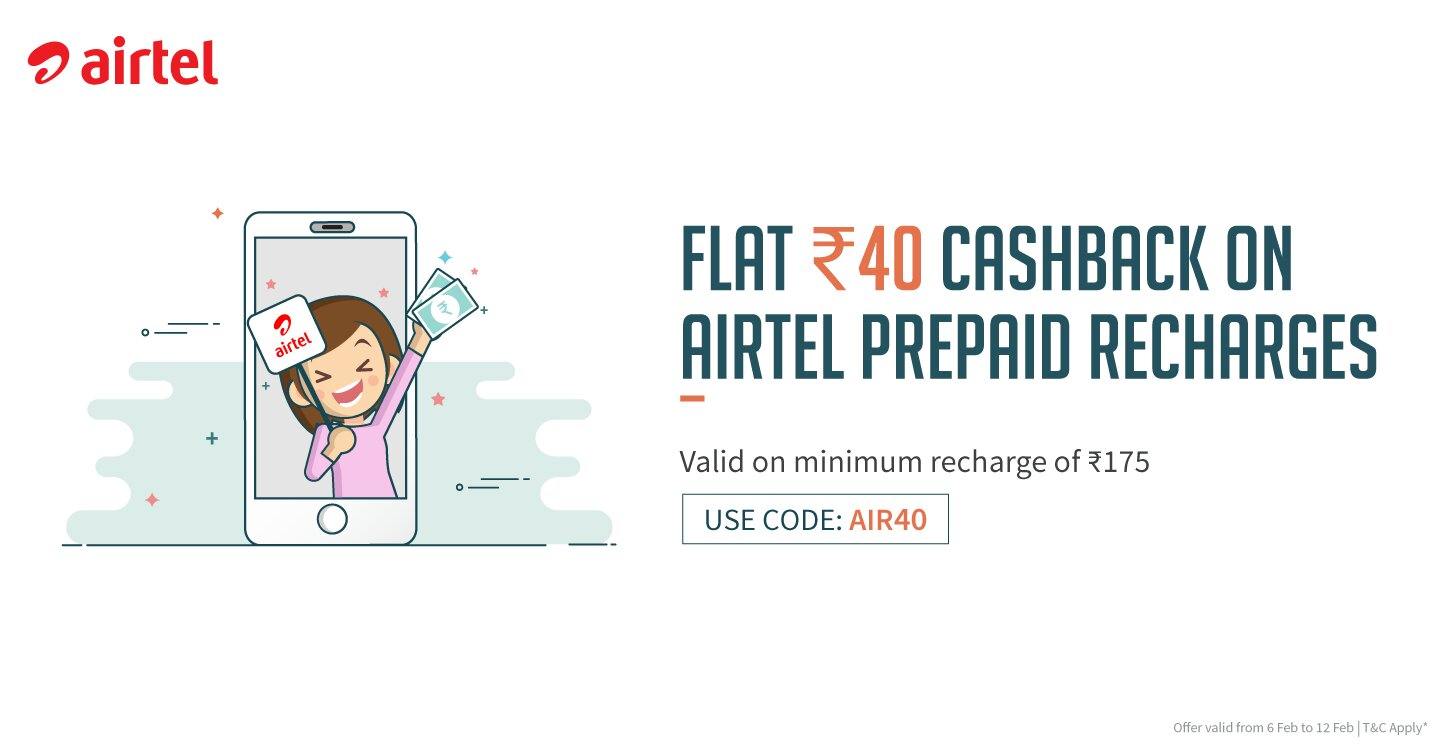 FreeCharge AIR40 Airtel Prepaid Recharges offer. Get Flat ₹40 Cashback on Airtel Prepaid Recharges Of ₹175 or More