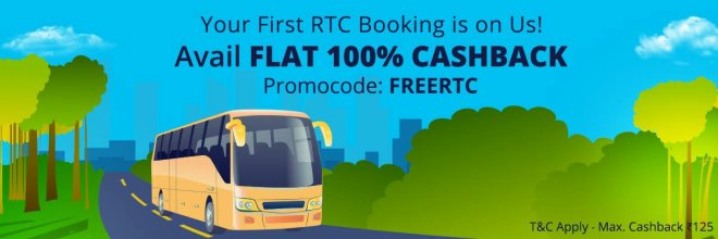 Paytm RTC Bus Offer -Get Flat 100% Cashback Upto Rs 125 on all RTC Bus Tickets Booking