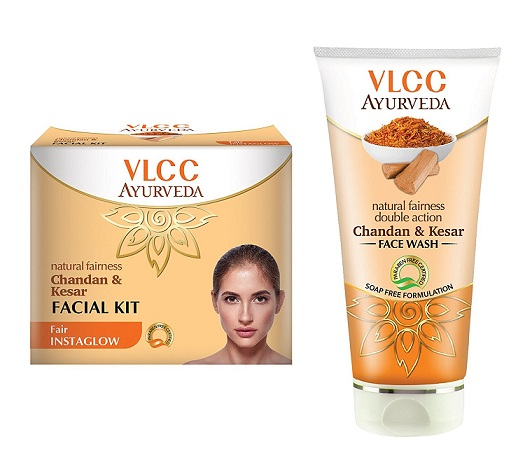 VLCC Ayurveda Chandan Kesar Facial Kit and Face Wash Combo At Rs 179 - Amazon