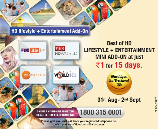 Videocon D2H Khushiyon Ka Weekend Offer HD Lifestyle + Entertainment
