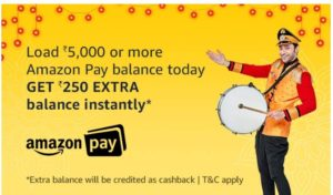 Amazon Pay Rs 250 cashback add money offer :-
