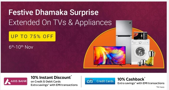 Flipkart Festive Dhamaka Days Sale 6-10 NOV 2018