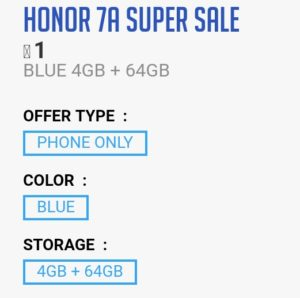 23 October Honor 7A Flash Sale Loot