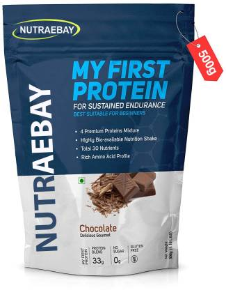 NUTRAEBAY My First Protein with whey, casein & pea, Chocolate Whey Protein Whey Protein (500 g, Rich Milk Chocolate) At Rs 299 Only (70% off)